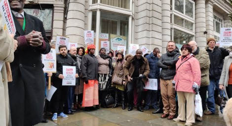 Rebecca Sharibu and protesters